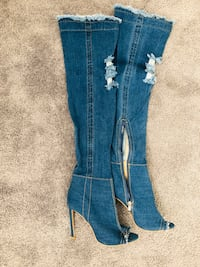 Thigh high denim boots