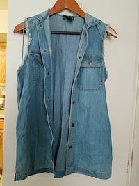 blue button-up denim vest 34 km
