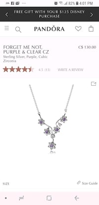 Pandora forget me not necklace  Surrey, V3V 2A6