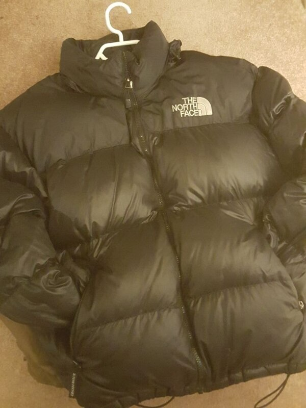 black The North Face leather zip-up bubble jacket