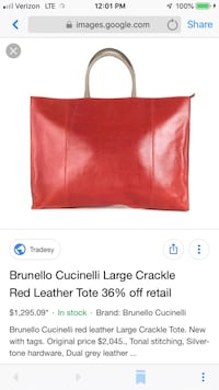 Red leather tote Portland, 97217