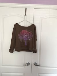 brown and purple tree long-sleeved sweater  Vaughan
