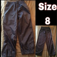Kids rain pants(euc) & track pants*...size 8...Euc...has zipper at ankle for easier on & off. North Vancouver, V7M