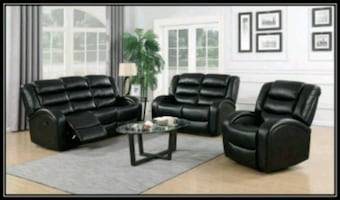 New black recliner sofa and loveseat