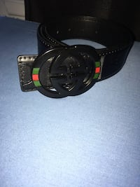 GUCCI Belt All black w/Green&Red buckle