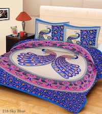blue and pink peacock print floral bed set New Delhi, 110009