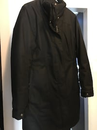 Black zip-up jacket. Firefly. EUC. Size LG. Didn't even wear for one season. Detachable hood with grey fur.  London, N6E