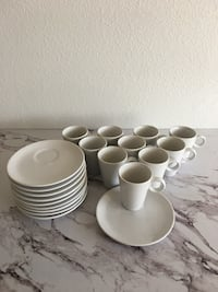 New 10-Piece Pier 1 Imports Espresso Cups and Saucers White