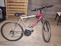 gray and red hardtail mountain bike 3741 km