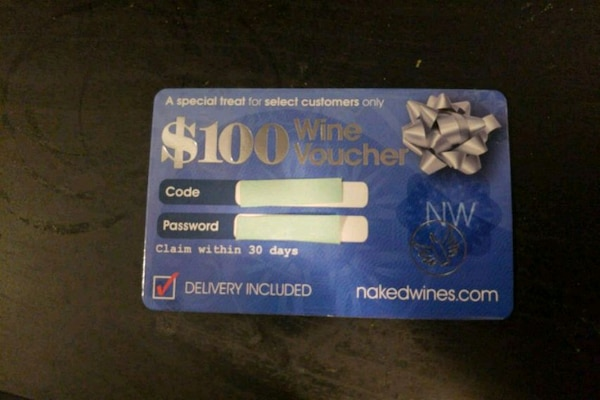 $100 wine voucher gift card