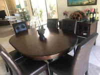 Dining set with leather chairs 2175 mi