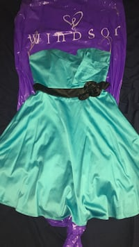 Women's teal strapless dress with black belt Corona, 92881