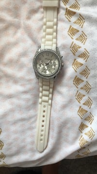 Round silver-colored chronograph watch with link bracelet Fort Myers, 33967