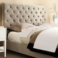Sophie Tufted Taupe Velvet Queen-size Platform Bed WASHINGTON