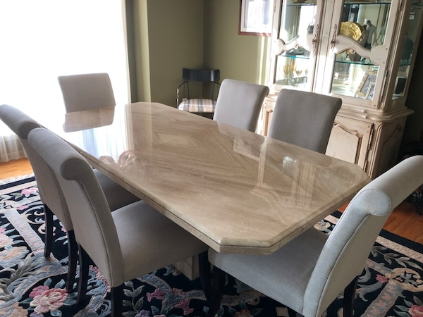 Woodland Park Icinde Satlk Ikinci El Solid Marble Dining Room Set With 6 Fabric High Back Chairs