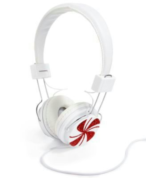 white and red corded headphones