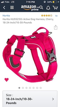 Hurtta HU932355 Active Dog Harness, Cherry, 18-24-Inch/10-30-Pounds & Retractable Leash Coquitlam, V3J 5W1