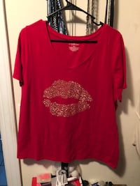 red scoop-neck shirt Cookeville