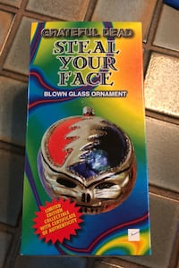 Grateful Dead Blown Glass Ornament, Steal Your Face, Limited Poland.