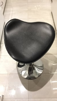 black leather padded bar seat with gray metal base Richmond, V7C 1E4