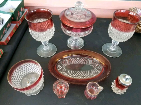 Old red glass set