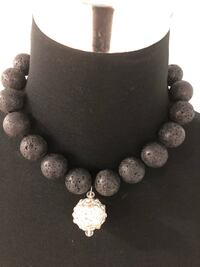 Black authentic volcano lava/ crystals necklace with magnetic clasp Keswick, L4P 3P2