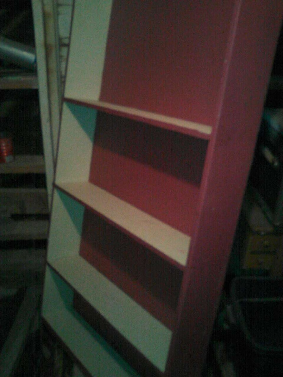 pink and white wooden shelf