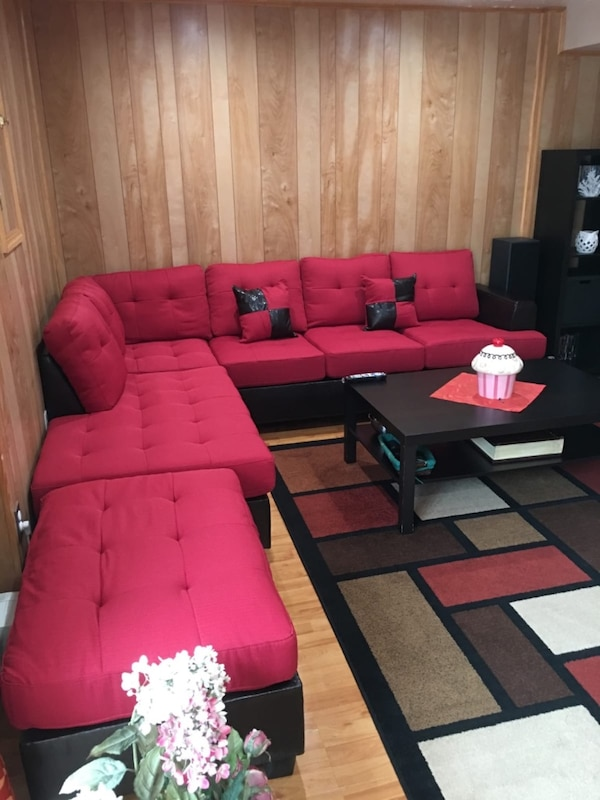 Brand new red linen sectional sofa with ottoman  17d1729e-21c7-48ad-91e9-14159688326a