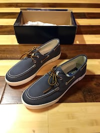 pair of black leather boat shoes Wenatchee, 98801