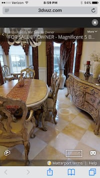 Oval beige dining table and chair set 8 chairs ferguson Copeland 2 extra leafs and table pads along w little table