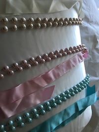 Pearls with silk Ribbon Tie various colours and