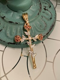 14k GPL Cross Pendant With Roses