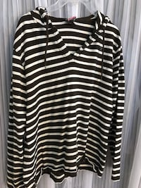 black and white striped pull-over hoodie Whitman, 02382