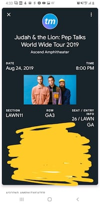 2 judah and the lion tickets Nashville Lawn  Nashville, 37210