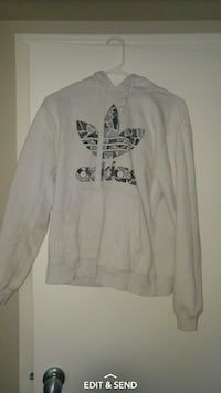 white Adidas pull over hoodie
