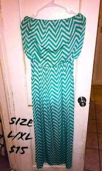 teal and white chevron spaghetti strap dress Carlsbad, 88220