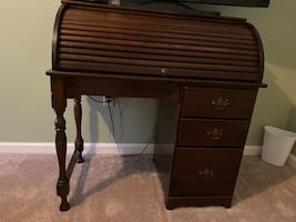 Wooden Rolltop Desk with Three Drawers