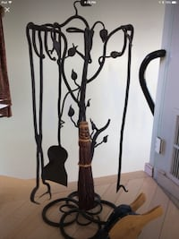 Hand forged fireplace set