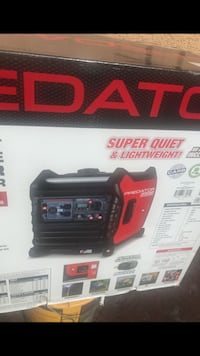 black and red Husky portable generator box