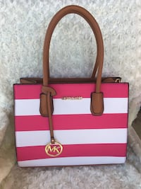 white and pink leather tote bag Coker, 35452
