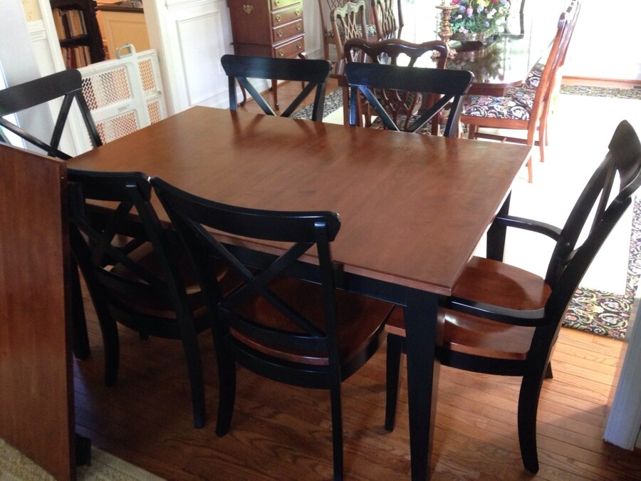 Used Black/Cherry Solid Wood Dining Table W 6 Chairs And