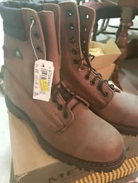 pair of brown leather work boots (steel-toe) Surrey, V4N 1W4