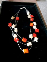 white, red, and blue beaded necklace Cambridge, N1R 2Z9