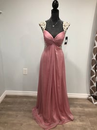 Pink mist back mesh embroidered gown Keswick, L4P 3P2