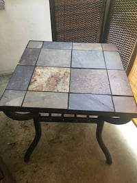 Slate and Metal End Table.24 in 24 In Top 23 in Height  Cherry Hill, 08034