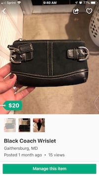Black Coach leather wristlet