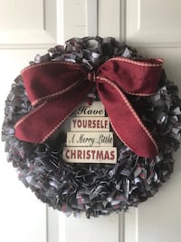 Handmade Rustic Grey Plaid Christmas Rag Wreath Londonderry, 03053