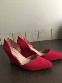 pair of red suede pointed-toe heeled shoes Calgary, T3H 5A1