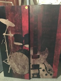 drum set and electric guitar painting
