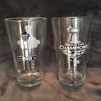 Pair of new Johnny Bower Stanley Cup pint beer glasses